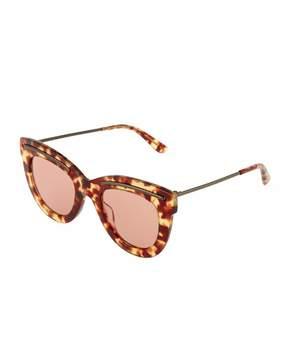 Bottega Veneta Tortoise Plastic Cat-Eye Sunglasses, Brown