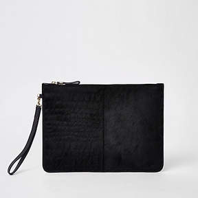 River Island Black leather croc embossed pouch clutch bag