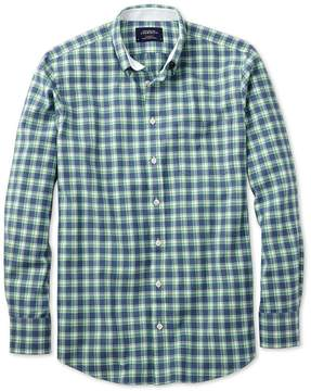 Charles Tyrwhitt Extra Slim Fit Blue and Green Check Washed Oxford Cotton Casual Shirt Single Cuff Size XS