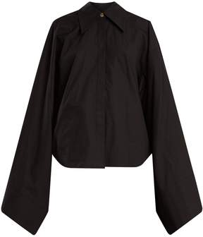 Awake Kimono-sleeve cotton-poplin top