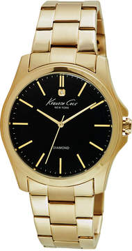 Kenneth Cole New York Men's Diamond Accent Gold-Tone Ion-Plated Stainless Steel Bracelet Watch 44mm 10027421