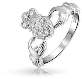 Celtic Bling Jewelry 925 Silver Irish Pave Cz Friendship Claddagh Ring.