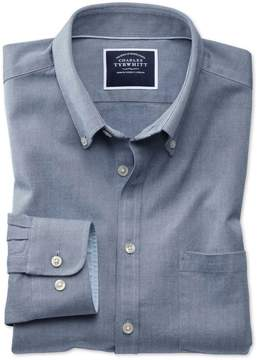 Charles Tyrwhitt Extra Slim Fit Button-Down Washed Oxford Plain Indigo Blue Cotton Casual Shirt Single Cuff Size Small