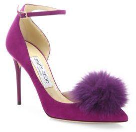 Jimmy Choo Rosa 100 Fox Fur Pom-Pom & Suede d'Orsay Ankle-Strap Pumps