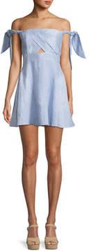 Bardot Linen Striped Tie-Shoulder Fit-and-Flare Dress