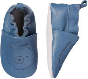 Joe Fresh Baby Boys' Bear Print Leather Slip Ons, Navy (Size M)