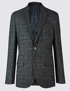 Marks and Spencer Wool Blend Knitted Check Jacket