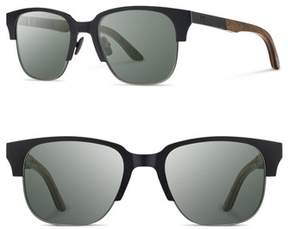 Shwood Men's Newport Titan 52Mm Sunglasses - Black Titanium/ Walnut/ G15