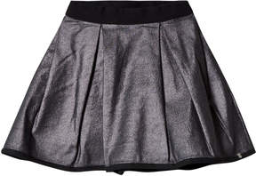Ikks Silver Metallic Skirt Reversible into Black Satin