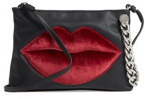 KENDALL + KYLIE Corey Lips Leather Clutch - Black