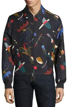 Salvatore Ferragamo Runway Abstract-Print Silk& Cotton Blouson Jacket