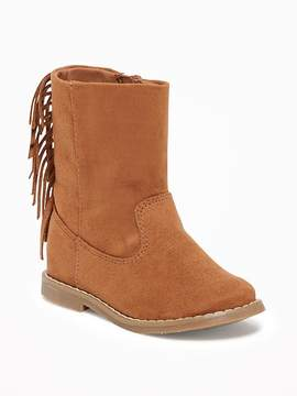 Old Navy Sueded Fringe-Trim Boots for Toddler Girls