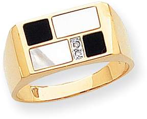 Ice 14k Onyx, Mother of Pearl & A Quality Diamond Mens Ring