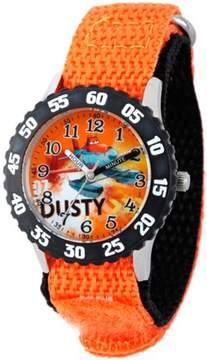 Disney Planes Boys' Stainless Steel Case with Bezel Watch, Orange Nylon Strap