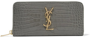 Saint Laurent Croc-effect Leather Continental Wallet - Charcoal - CHARCOAL - STYLE