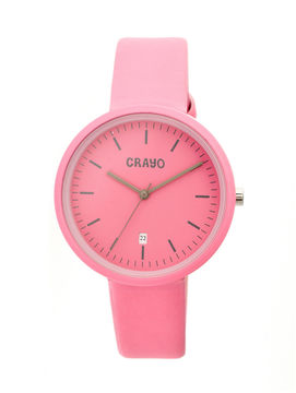 Crayo Womens Easy Pink Leather-Band Watch With Date Cracr2408