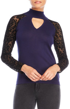 August Silk Flocked Mock Neck Sweater
