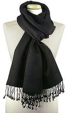Forzieri Black Pashmina & Silk Shawl