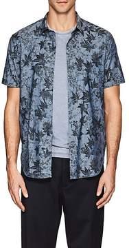 John Varvatos Men's Leaf-Pattern Cotton Short-Sleeve Shirt