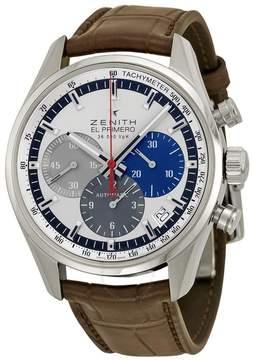 Zenith El Primero 36000 VPH Slver Dial Brown leather Men's Watch