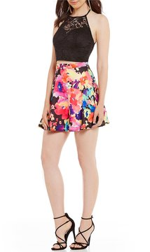 B. Darlin Lace to Floral Print Two-Piece Dress