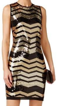 Vince Camuto Women's Sleeveless Sequin Chevron-Print Dress
