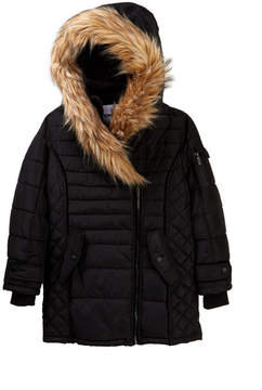 DKNY Bubble Jacket with Faux Fur Trim (Big Girls)