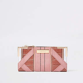 River Island Light pink textured panel slim foldout purse