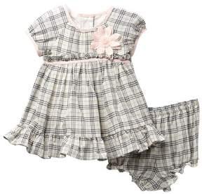 Laura Ashley Navy Ivory Plaid Dress (Baby Girls)