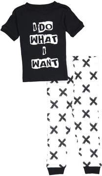 Petit Lem Black 'Do What I want' Crewneck Tee & Pants - Infant & Toddler