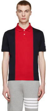 Moncler Gamme Bleu Navy and Red Colorblocked Polo