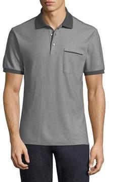 Ermenegildo Zegna Contrast-Trim Pique Polo Shirt, Gray