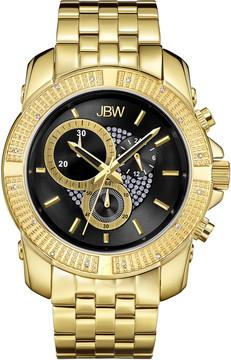 JBW Warren Gold-tone Case Black Crystal Pave Chronograph Dial Diamond Bezel Men's Watch