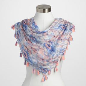 World Market Pink and Blue Scarf