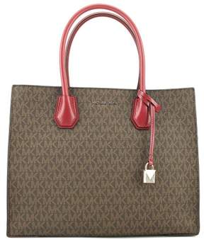 Michael Kors Large Mercer Logo Tote - Brown / Mulberry - BROWN/MULBERRY - STYLE