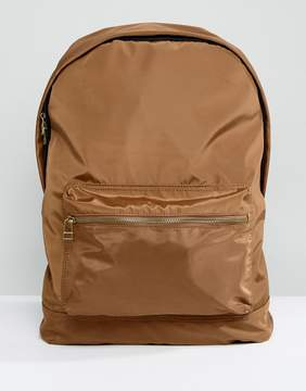 Asos Backpack In Tobacco Satin
