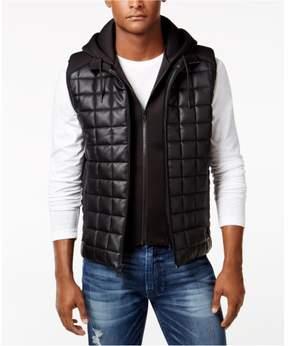 GUESS Mens Dustin Faux-Leather Quilted Vest Black L