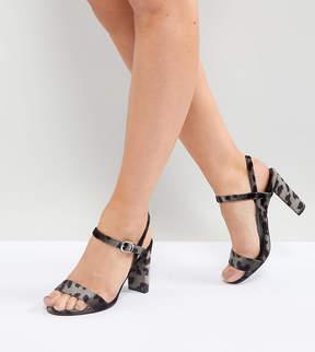 New Look Wide Fit Velvet Dark Leopard Print Block Heel Sandals