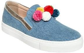 Aquazzura Mini Pompom Denim Slip-On Sneakers
