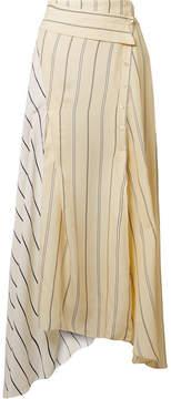 3.1 Phillip Lim Asymmetric Striped Twill And Satin Midi Skirt - Cream