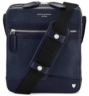 Aspinal of London Anderson Midi Messenger Bag In Navy Saffiano