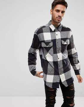 Pull&Bear Oversized Flannel Check Shirt In Black