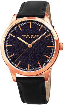 Akribos XXIV Mens Black Strap Watch-A-937bkbu