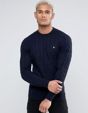 Jack Wills Marlow Merino Cable Knit Crew Neck Sweater In Navy