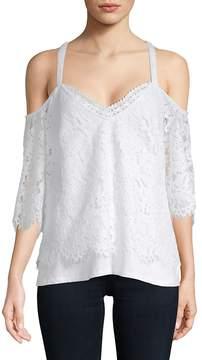 Daniel Rainn Women's Lace Cold-Shoulder Top