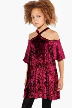 boohoo Girls Puff Sleeve Cross Back Swing Dress
