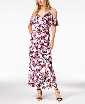 Bar III Printed Cold-Shoulder Maxi Dress, Created for Macy's