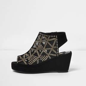 River Island Girls black studded peep toe wedge heels