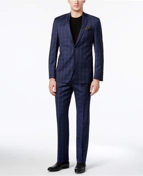 DKNY Men's Slim-Fit Blue Tonal Plaid Suit