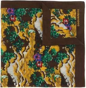 DSQUARED2 Hawaii print scarf